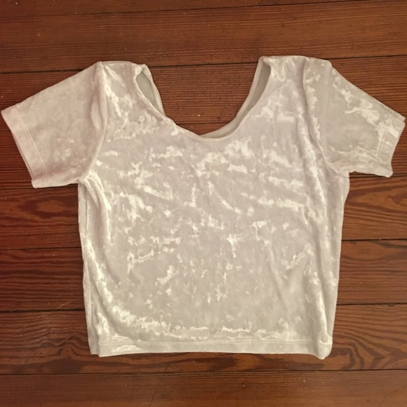 1012d4f7952 White Crushed Velvet American Apparel Crop Top